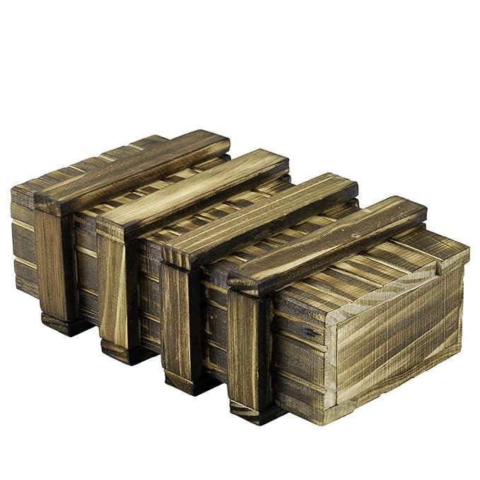 Locisne Caja de regalo de madera mágica 2 compartimentos de almacenamiento extra seguros Caja de recuerdo cajón secreto Caja rompecabezas memoria Regalo ...