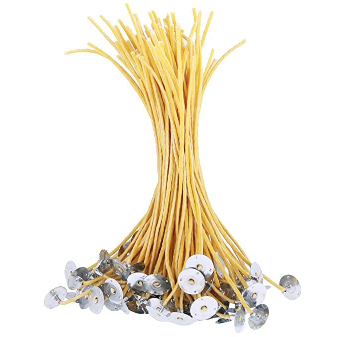 50 PCS Low Smoke/&Natural CozYours 200mm Candle Wicks with Candle Wick Stickers Candle Wicks for Candle Making.