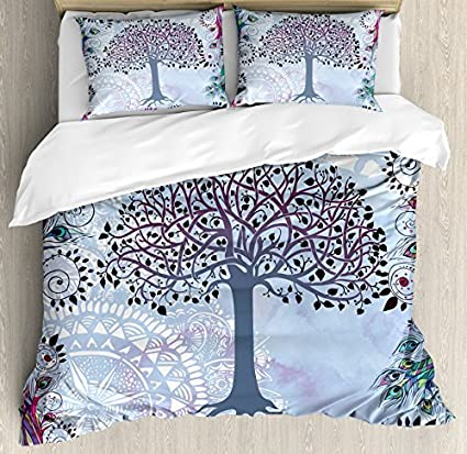 Superieur Ambesonne Nature Duvet Cover Set King Size, Cute Tree Of Life Motif With  Peacock Feathers
