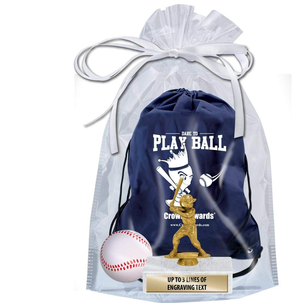 Crown Awards Baseball Goodie Bags, Baseball Favors for Baseball Themed Party Supplies Comes with Personalized Boys Baseball Kids Trophy, Squishball and Baseball Drawstring 20 Pack Prime by Crown Awards (Image #2)