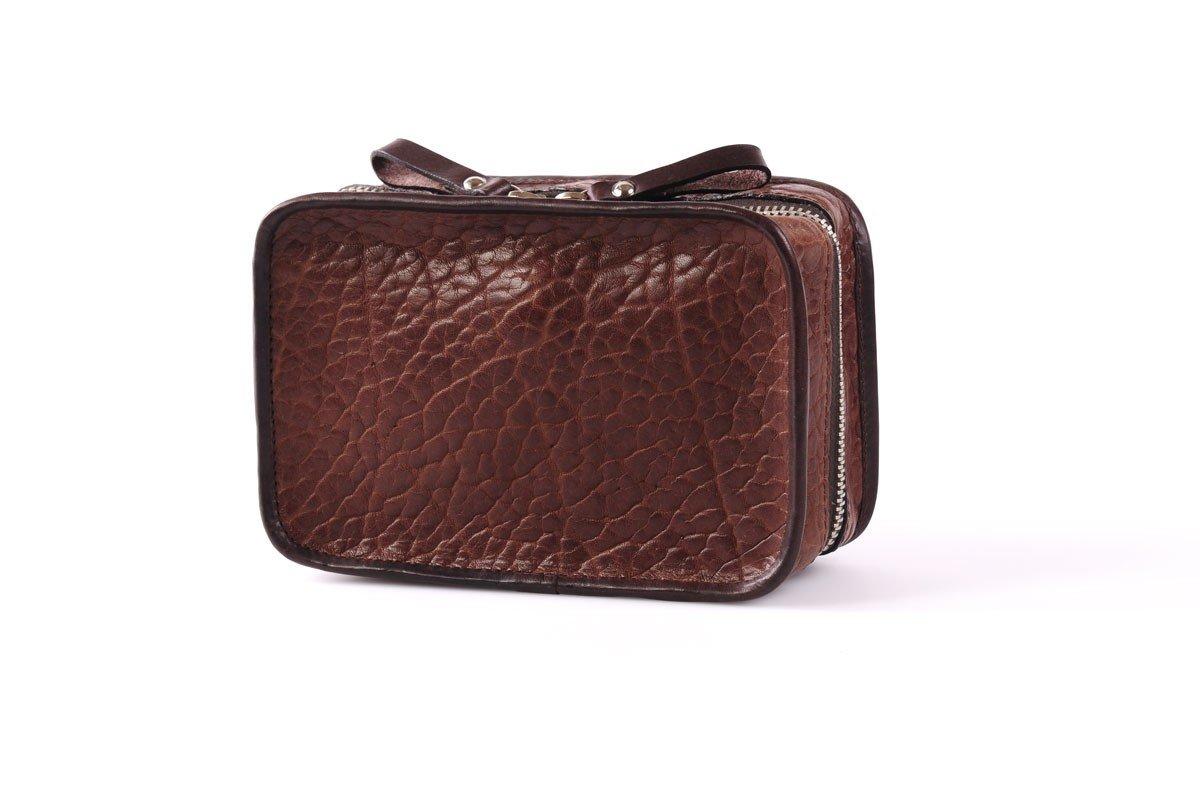 Buffalo / Vachetta Carryall Travel Kit (Walnut) by Borlino