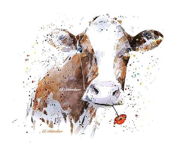 Vache Avec Fleur Aquarelle Imprimer 30 40cm Amazon Fr Handmade