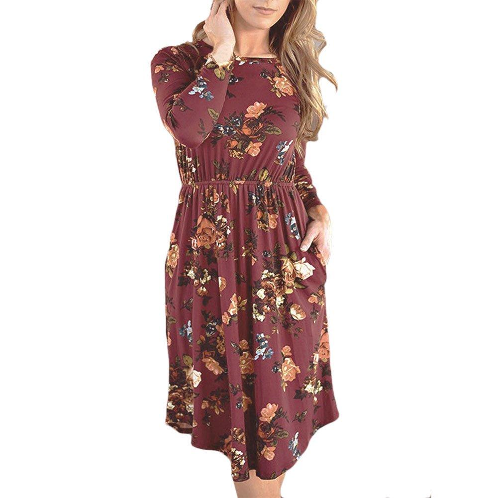 Petalum Damen Kleid Herbst Elegant Casual Blumenmuster Langarm Taschen A Linien Midikleid Shirtkleid