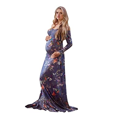 ♪ZEZKT♪Maxi Kleid Fotografie Blumen Schwangerschaft Kleid ...