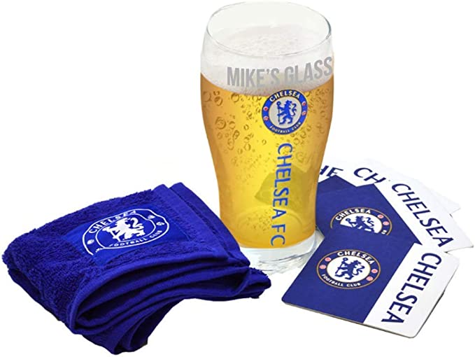 Personalised Chelsea Pint Glass Engraved Mini Bar Set/Towel and Coaster/Football Fans/Gift Box
