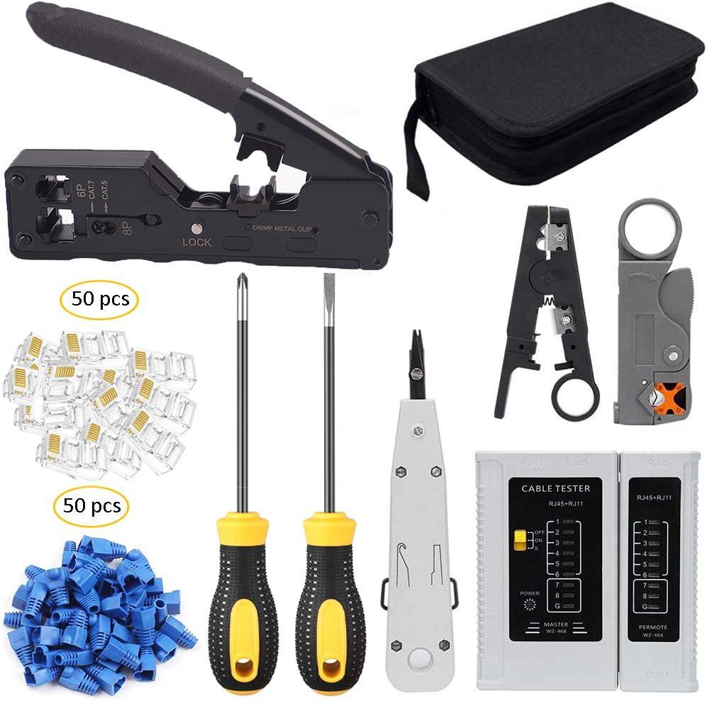 RJ11 RJ45 Cat5e Cat6 Network Ethernet LAN Kit Crimping Tool Cable Tester Crimper