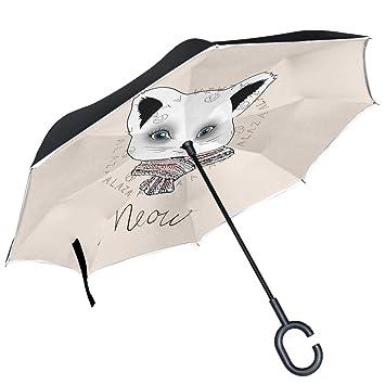 ALAZA gato azul ojos de punto bufanda de color blanco puede paraguas paraguas de doble capa