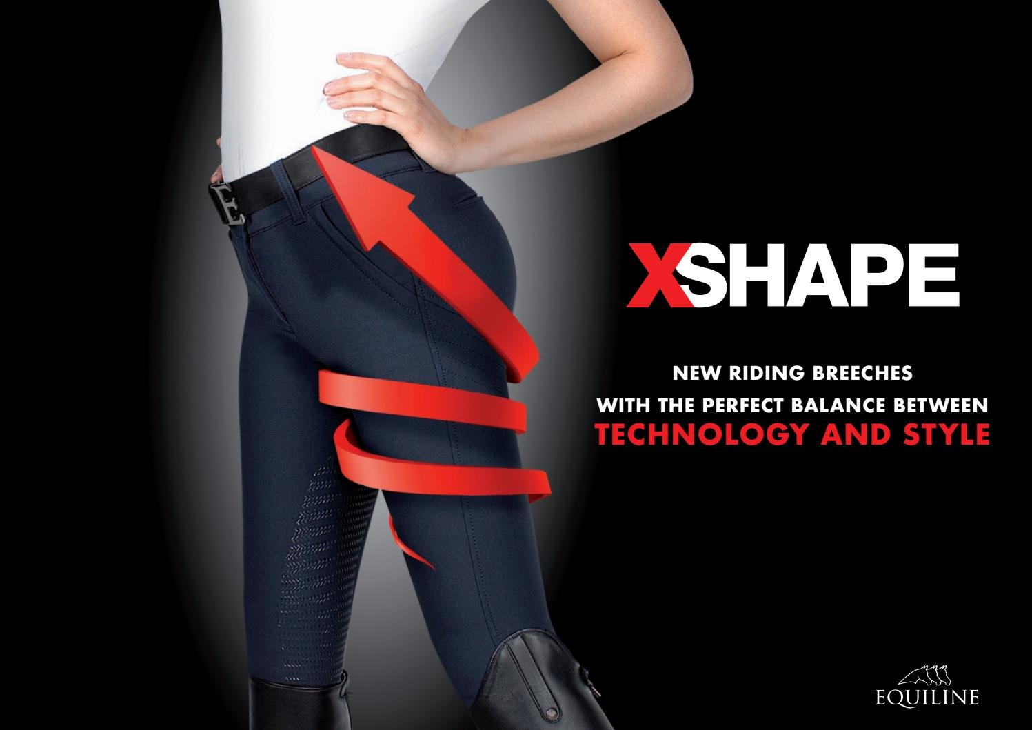 Equiline X-Shape reithose Eleonor Navy con Effetto Shape Up Half Grip