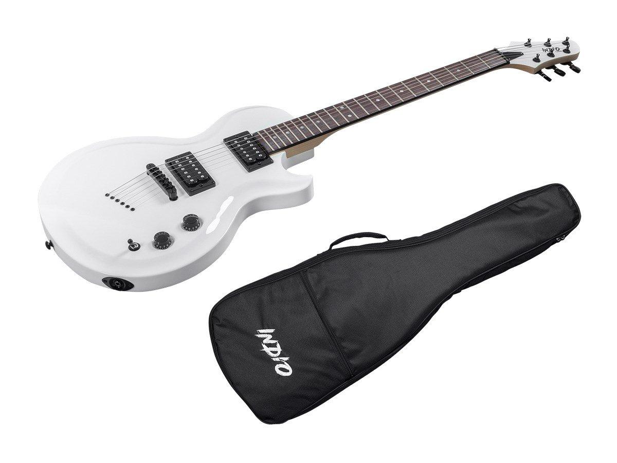 Indio 66 - Guitarra eléctrica con funda bag-White: Amazon.es: Instrumentos musicales