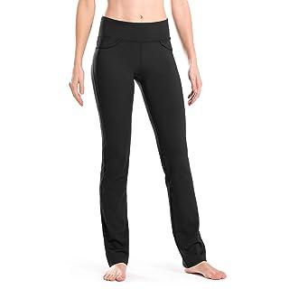 "Safort Women 28"" 30"" 32"" 34"" Inseam Regular Tall Straight Leg Yoga Pants, Workout Pants, Four Pockets, Black M"