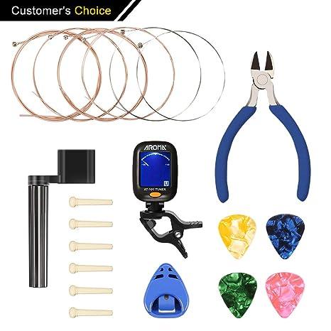 Kit de accesorios de guitarra NASUM con cuerdas de guitarra, carretes de cable, alicates