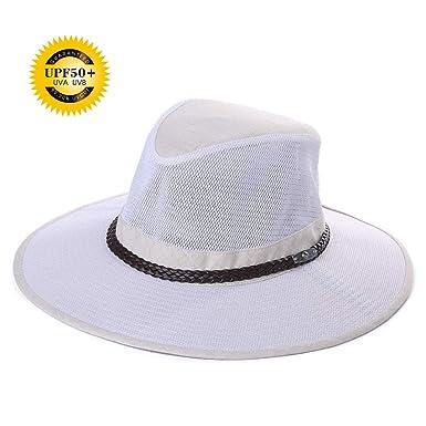 25b84fdbe2e Jeff   Aimy UV Protection Mens Wide Brim Sun Hat Mesh Safari Breezer Hat  Chin Cord