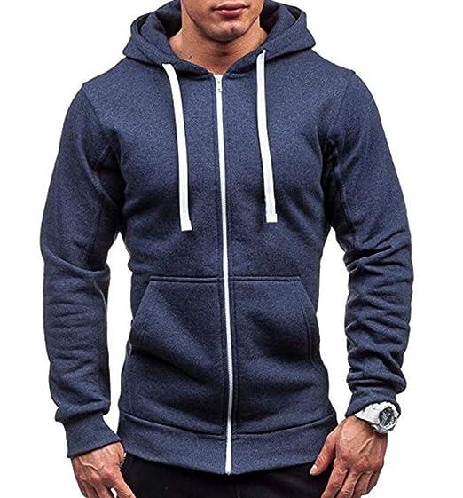 Keephen Sudadera Casual con Capucha con Cremallera para Hombre Escudo de Color Sólido Jogging Fitness Cardigan Sweater: Amazon.es: Ropa y accesorios