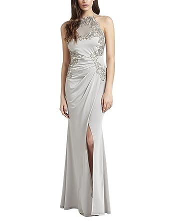 Lipsy Womens Appliqué High Neck Maxi Dress Regular Fit Silver 10