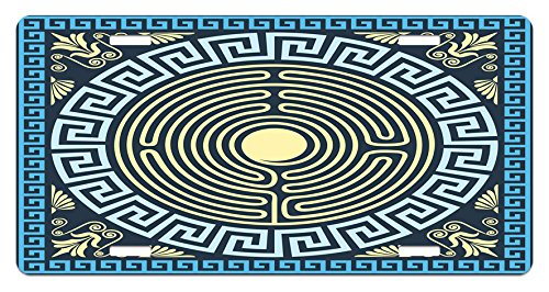 Ambesonne Greek Key License Plate, Yellow and Blue Labyrinth Pattern from Ancient Culture with Floral Details, High Gloss Aluminum Novelty Plate, 5.88 L X 11.88 W Inches, Pale Yellow (Floral Labyrinth)