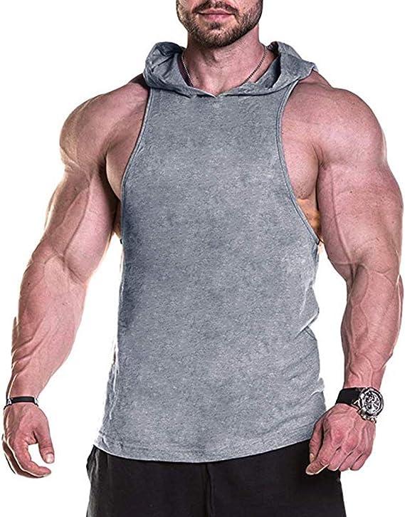 Men/'s Sleeveless Bodybuilding Hoodie Muscle Sweatshirt Cool Hoody Tops GYM Sport