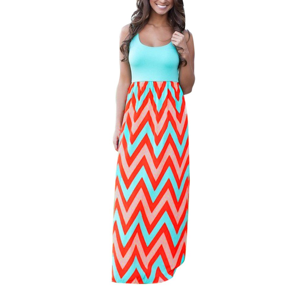Fanyunhan Womens Boho Striped Long Dress Summer Beach Vest Sundrss Maxi Dress Plus Size Blue
