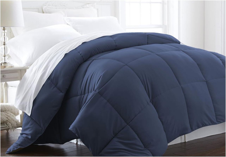 ienjoy Home Home Collection Premium Luxury Down Fiber Comforter, Full/Queen, Navy