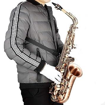 Arnés ajustable profesional Hombro negro Saxofón Cinturón correa ...