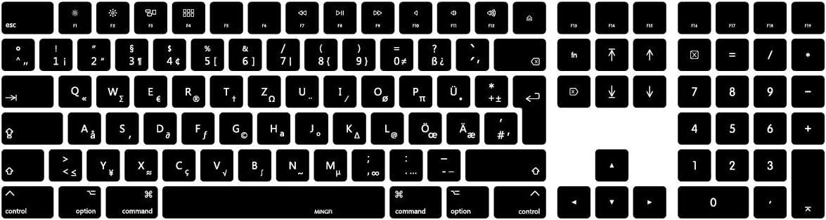 MiNGFi alemán German QWERTZ Cubierta del Teclado/Keyboard Cover para 2017+ Magic Keyboard con Teclado numérico Puerto Lightning EU/ISO/ES Disposición ...
