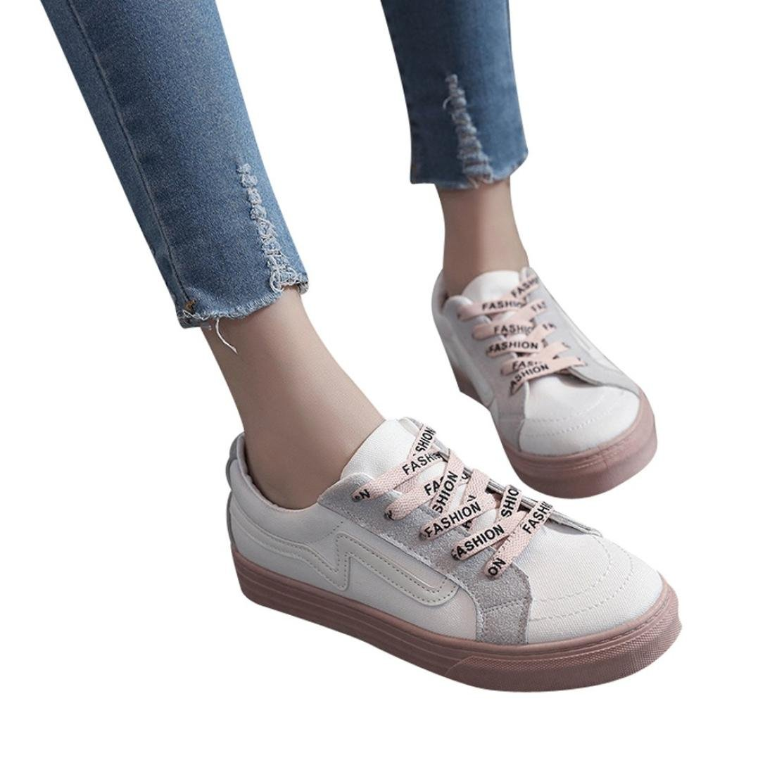 Kinrui Womens Tennis Sneakers Casual Lace Up Comfortable Soles Platform Sports Walking shoes (Beige, US:7.5)