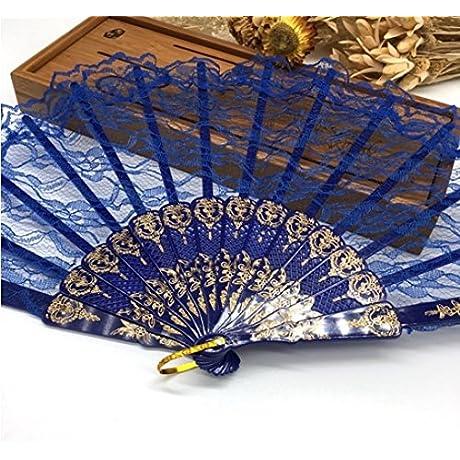 Deep Blue Spanish Hand Fan Flower Lace Fan Hand Fan Folding Dancing Props Decoration Fiestas Party Favors