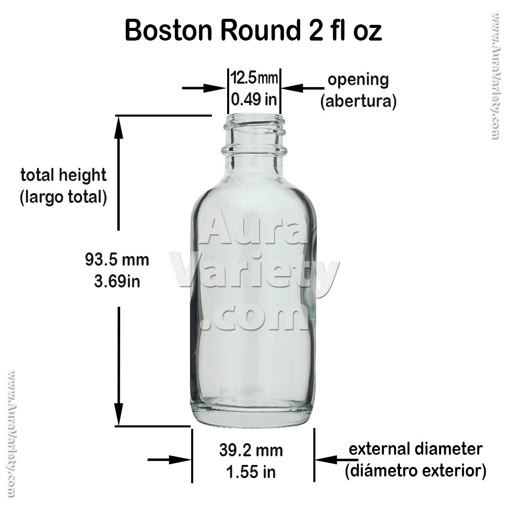 72 Pack Boston Round 2 OZ 60 ML Clear Glass Bottles with Poly Cone Lined Black CAPS