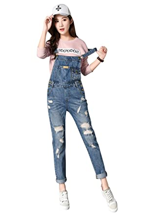2018 shoes how to buy hot products Amazon.com: ACE SHOCK Ripped Denim Jumpsuits Pants Women ...
