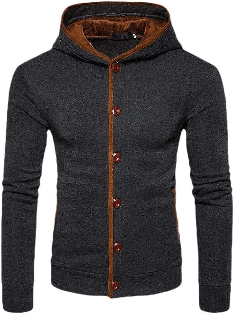 Gocgt Mens Button Cardigan Fit Long Sleeve Hoodies Casual Jacket Sweatshirt Jumper Coat Tops