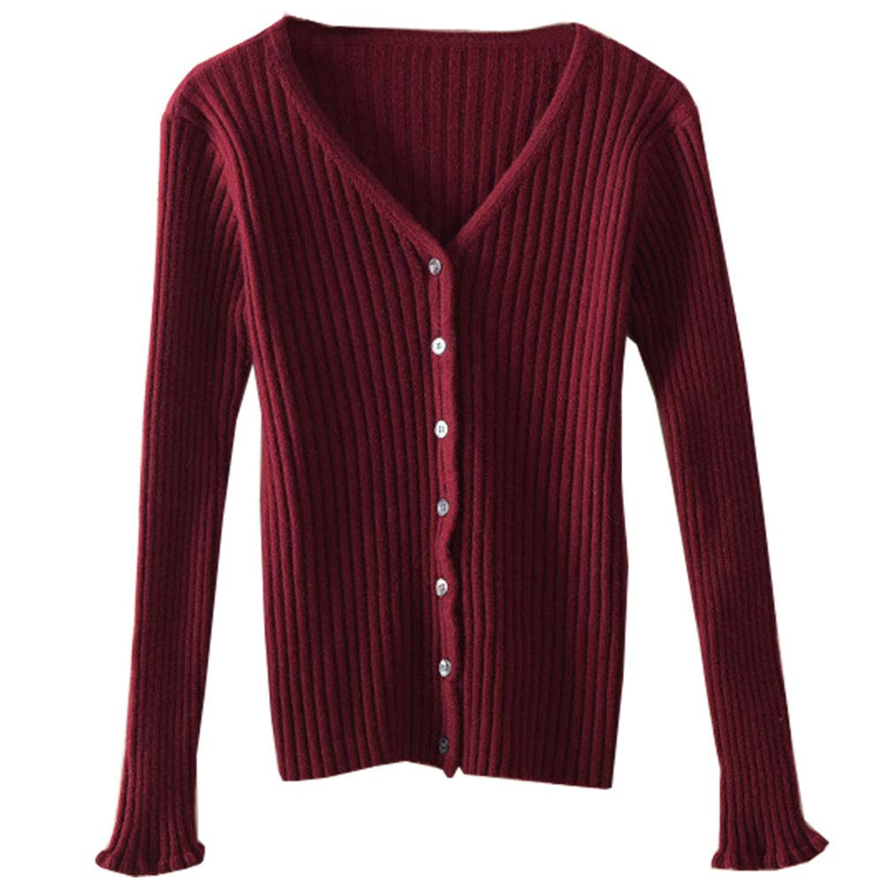 Womens Pure Cashmere Button Down Flare Cuff V Neck Petite Fashion Textured Soft Shawl Drapey Bape Sweater Tops Cardigan Wine Red US 6