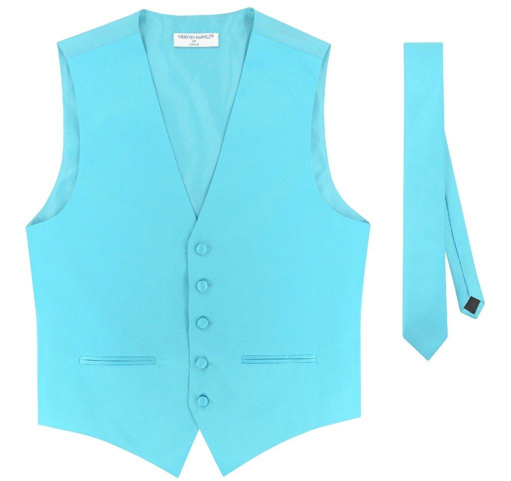 Mens Slim FIT Dress Vest Skinny Necktie Turquoise Aqua Blue 2.5'' Tie Hanky M