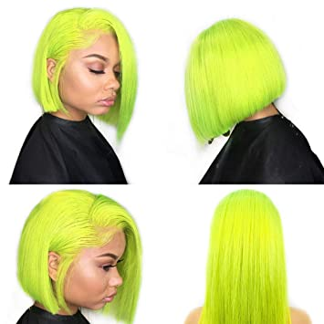XRS Hair Wig Lime Green Color Lace Front Bob Wigs for Women With Baby Hair Natural