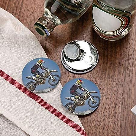 Abridores de botellas redondos de motocross / imanes de nevera Sacacorchos de acero inoxidable Etiqueta magnética 2 piezas