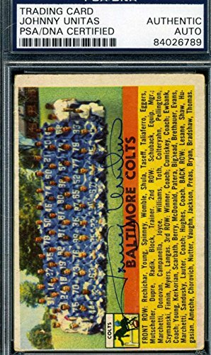 Johnny Unitas 1956 Topps Colts Hand Signed Original Authentic Autograph - PSA/DNA Certified - NFL Autographed Football Cards