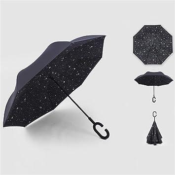 Patrón negro de la manera doble capa de protección solar paraguas reversible a prueba de viento