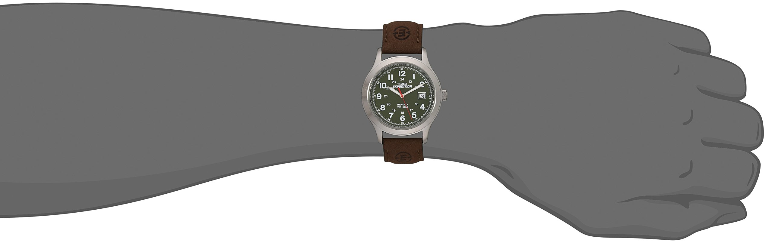 Timex Men's T40051 Expedition Metal Field Brown Leather Strap Watch by Timex (Image #3)