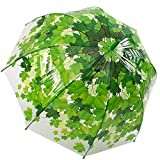 Kung Fu Smith Auto Open Transparent Bubble Green Leaves Print POE Umbrella