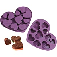 Webake - Moldes de silicona con forma de corazón para chocolate (2 unidades)