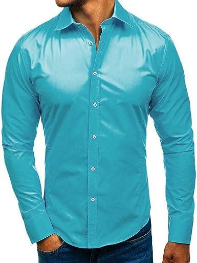 Pingtr Camisa Modelos de explosión Color sólido Delgado ...
