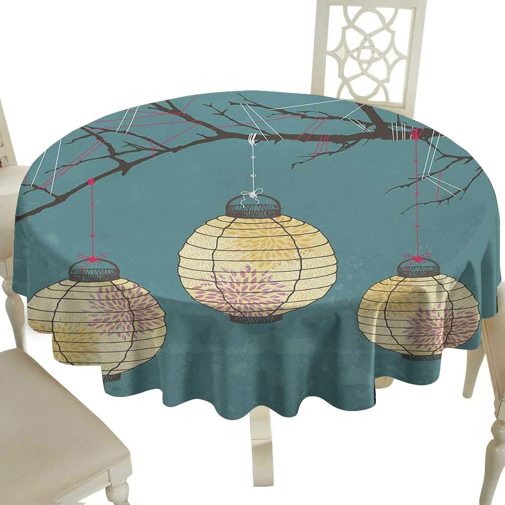 The Pattern Round Table Cloth 70 Inch Lantern,Three Paper Lanterns Hanging on Branches Lighting Fixture Source Lamp Boho,Teal Light Yellow Great for,Holiday & More