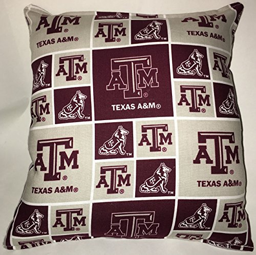 "Texas A&M Pillow Football Pillow ATM Pillow NCAA HANDMADE In USA Pillow is approximately 10"" X 11"