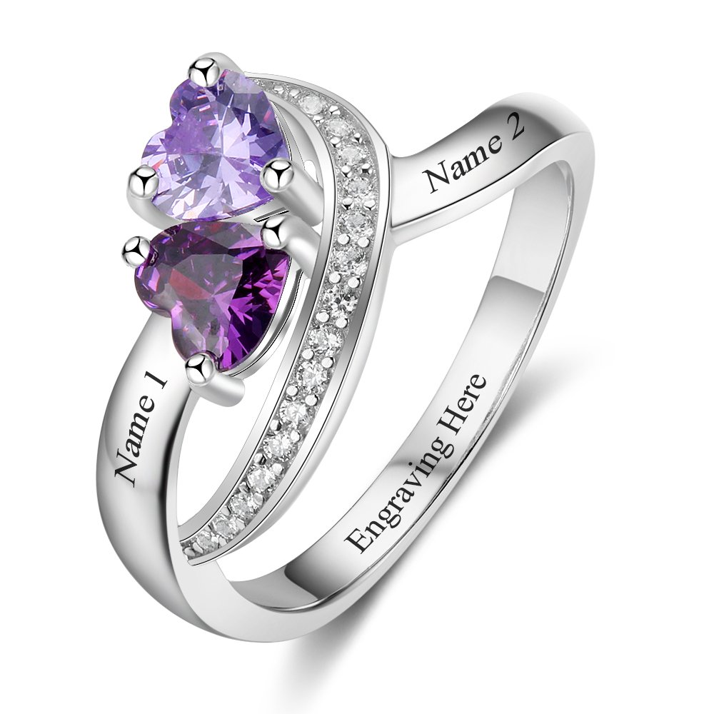 Diamondido Personalized Name Rings 2 Simulated Birthstones Promise Rings for Women Couple Engagement Rings Band (7) by Diamondido
