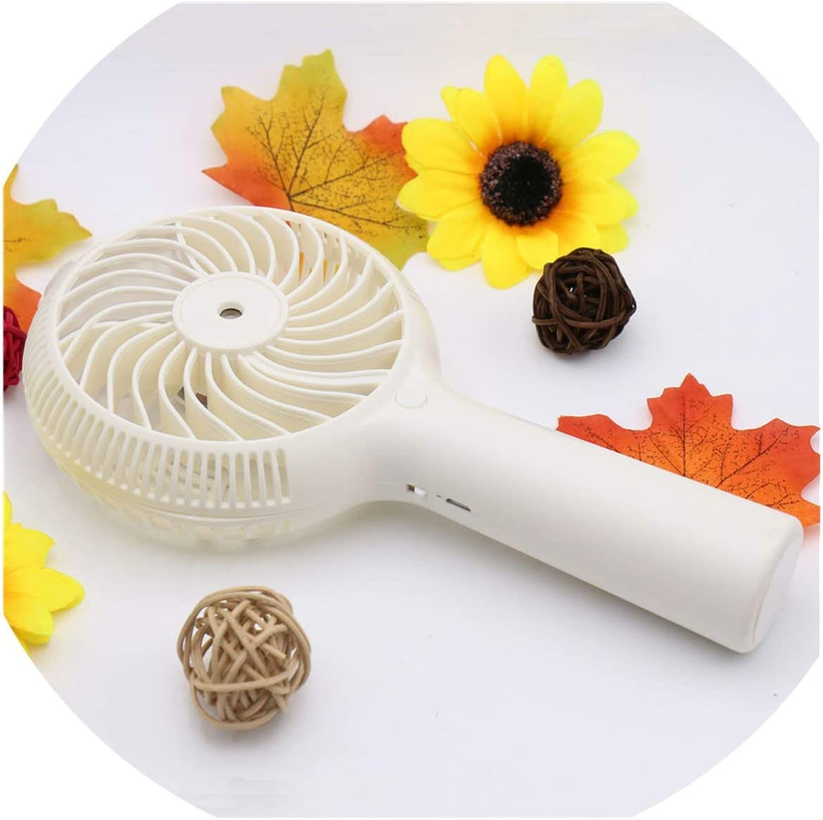 1200mah Mini Water Mist Fan USB Rechargeable Handheld Portable Air Conditioning Fans Outdoor Office,White