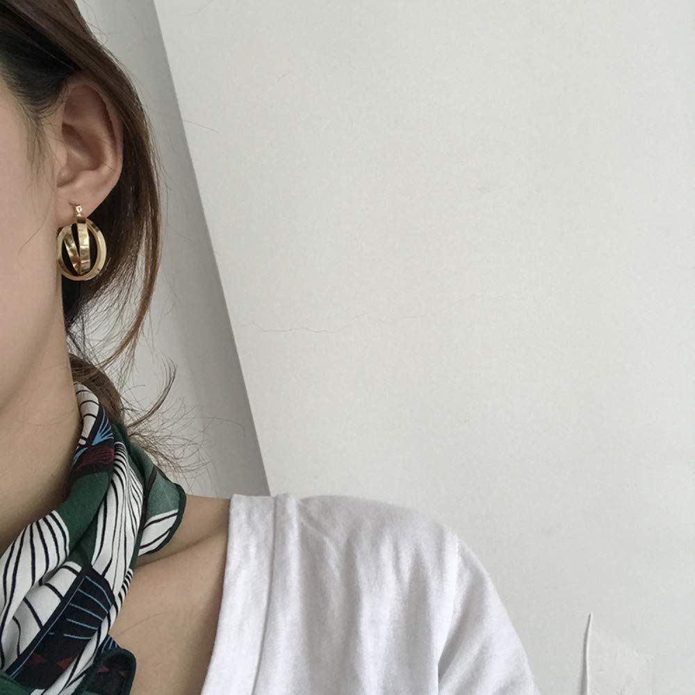 Ahyf Earring Fashion Circle Earrings Temperament Three-Dimensional Cross Ear Ring Cold Wind Ear Studs