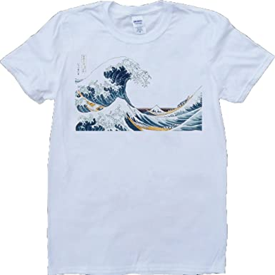 f02b72dc Brain Dump Tees Hokusai The Great Wave Men's White, T-Shirt: Amazon ...
