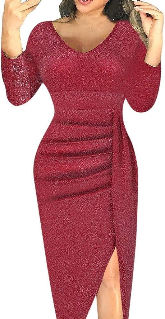 JHKUNO Women Dresses Women Off Shoulder High Slit Bodycon Dress Long Sleeve Dresses