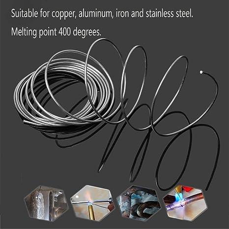 KinshopS 2 mm 1 m Varilla de Soldadura Cobre Aluminio Flujo de Baja Temperatura Alambre con n/úcleo Soldadura de Metal Varilla de Soldadura Herramienta Electrodo Sin Necesidad de Soldadura