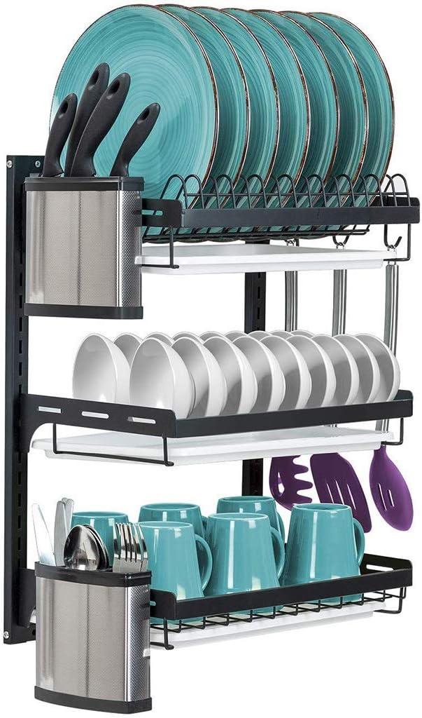 3つのフック付き食器乾燥ラック、黒の201ステンレス鋼の壁に取り付けられたキッチンラック箸ケージナイフラック食器収納ラック (Size : 3-tier)