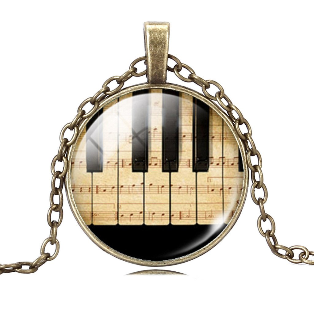 Jiayiqi Jewelry Women Fashion Piano Keyboard Picture Pendant Time Gem Statement Necklace Christmas Gift