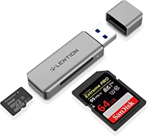 LENTION Aluminum USB 3.0 Card Reader, SD 3.0 Adapter for SD/SDXC/SDHC, Micro SD/Micro SDXC/Micro SDHC, UHS-I, MMC/RS-MMC Cards Compatible MacBook Air/Pro, Surface, Chromebook, more (CB-H7, Space Gray)